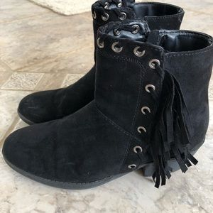 Justice faux suede fringe booties